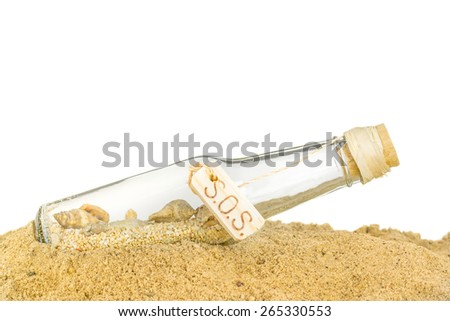 A glass bottle with SOS in sand on a white background with copy space for your text - stock photo