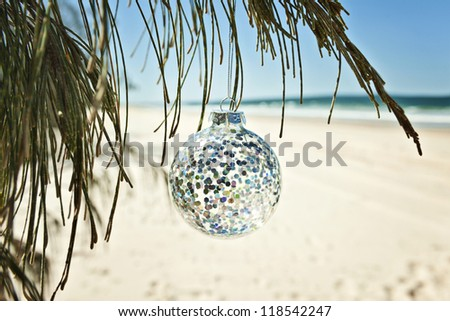 a glass christmas ball hangs from a tree at the beach - stock photo