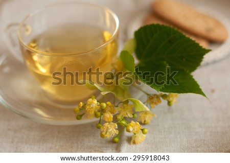 A glass cup of lime flower tea with biscuits on a wooden surface  - stock photo