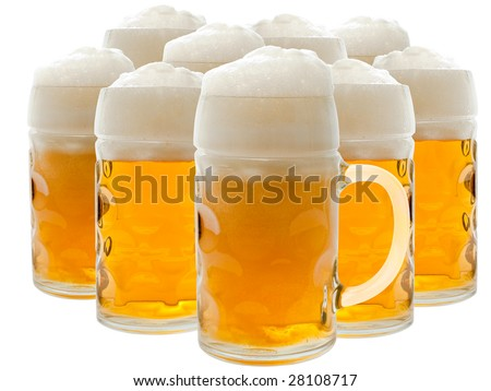 A glass of beer over the white background - stock photo