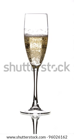a glass of champagne filled with lots of bubbles - stock photo