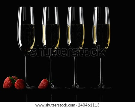 A Glass of champagne with strawberry on colorful background - stock photo