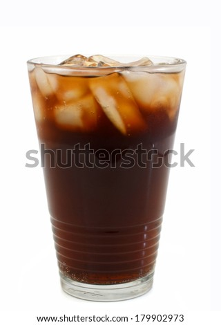 A glass of cola against a white background. - stock photo