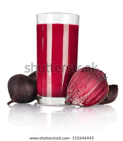 A glass of fresh beet vegetable juice isolated on white background - stock photo
