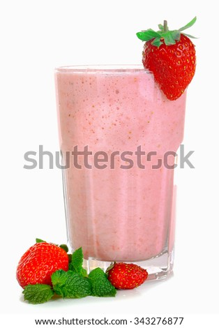 A glass of fresh cold strawberry smoothie, isolated on white - stock photo