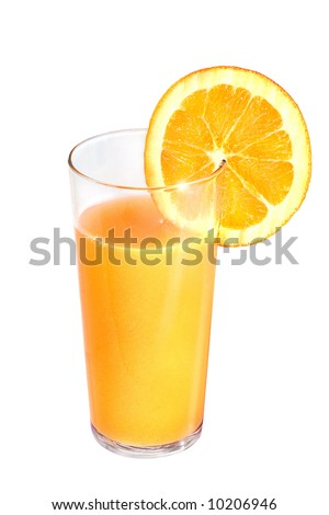 A glass of fresh orange juice with slice of orange isolated on white - stock photo