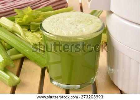 A glass of fresh organic celery juice  - stock photo