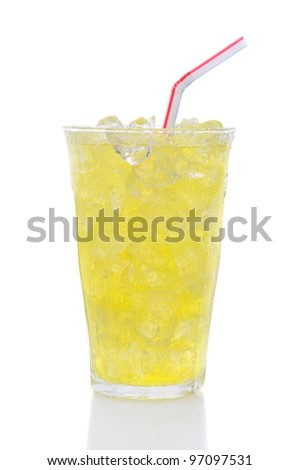 A glass of Lemon Lime soda filled with ice cubes, soda and a straw over a white background. - stock photo