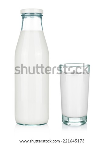 A glass of milk and a milk bottle isolated on white background. - stock photo