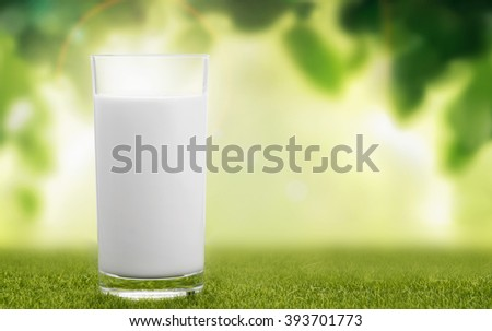 A glass of milk on natural background - stock photo