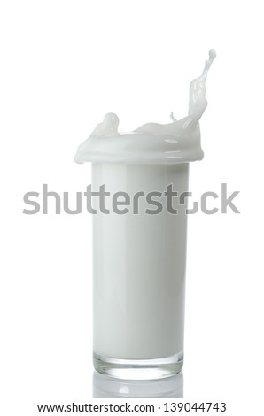 a glass of milk with splash - stock photo