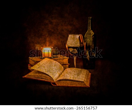 A glass of red wine and a bottle of wine sit beside a pile of classic novels.  The scene is lit by candlelight. An open book sits in the foreground.  Photo is made to look almost like a painting. - stock photo