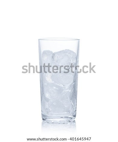 A glass with ice isolated on white background. - stock photo