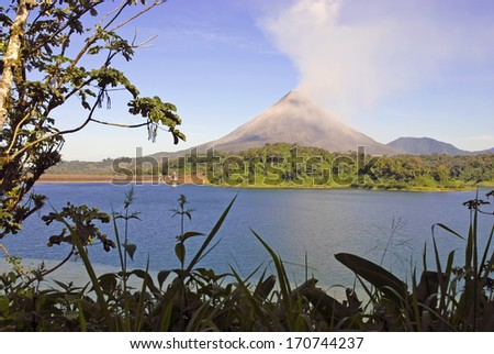 A Glimpse of Arenal Volcano from the Jungle, Costa Rica  - stock photo