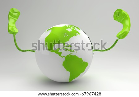 A global telecommunication concept with the green planet - stock photo