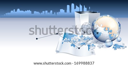 A globe made from puzzle pieces sitting in front of a box. - stock photo