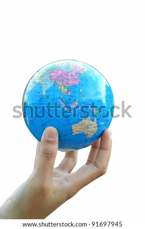A globe on hand - stock photo