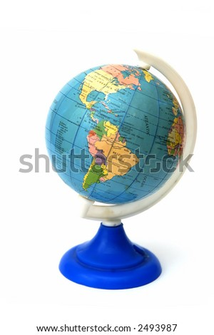 A globe showing America continent in a white background - stock photo