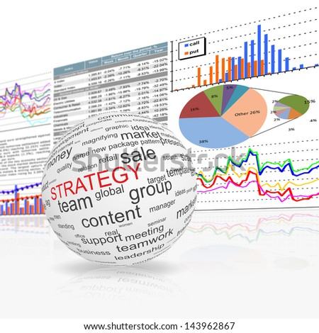 A globe sphere with strategy inscription . - stock photo