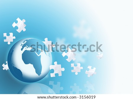 A globe with falling puzzle pieces. - stock photo