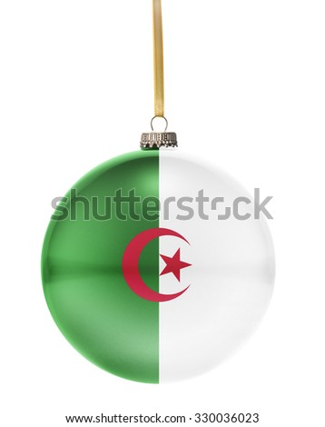 A glossy christmas ball in the national colors of Algeria hanging on a golden string isolated on a white background.(series) - stock photo