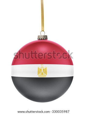 A glossy christmas ball in the national colors of Egypt hanging on a golden string isolated on a white background.(series) - stock photo