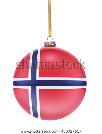 A glossy christmas ball in the national colors of Norway hanging on a golden string isolated on a white background.(series) - stock photo