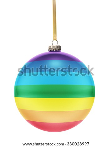 A glossy christmas ball in the national colors of Peace hanging on a golden string isolated on a white background.(series) - stock photo