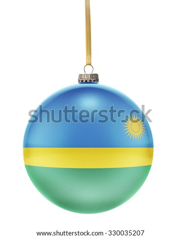 A glossy christmas ball in the national colors of Rwanda hanging on a golden string isolated on a white background.(series) - stock photo