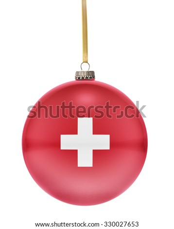 A glossy christmas ball in the national colors of Switzerland hanging on a golden string isolated on a white background.(series) - stock photo