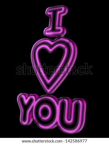 A glowing neon sign used as a display love and affection - stock photo