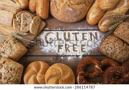 A gluten free breads on wood background - stock photo