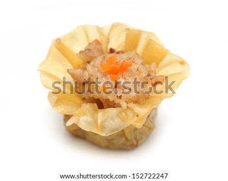 A glutinous rice dumpling isolated on white background. - stock photo