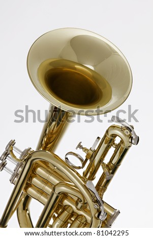 A gold brass cornet or trumpet isolated against a white background - stock photo