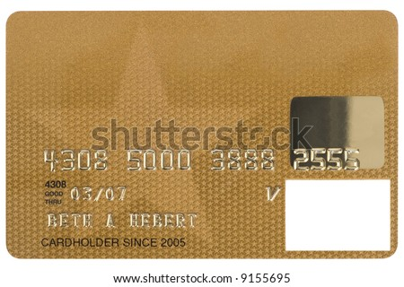 A gold credit card shot straight on. Numbers are fake. - stock photo