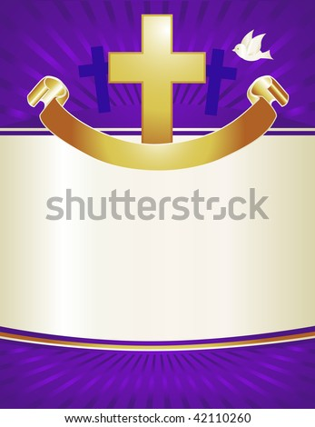 A gold cross and dove with banner adorns this royal purple background. Perfect for Christmas or Easter pageant programs or posters. - stock photo