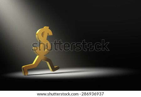 A gold dollar sign is caught in the spot light as it runs away. - stock photo