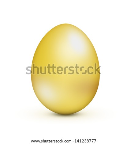 A gold egg is a great way to represent so many concepts and ideas: new beginning, spring, easter, new born ... - stock photo