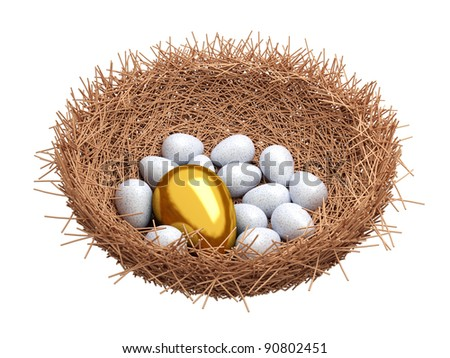 A gold egg is in a nest - stock photo