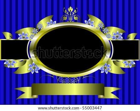 a gold floral frame on a classic blue striped  background with room for text - stock photo