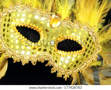A gold Mardi Gras mask with gold and black feathers at an angle. - stock photo