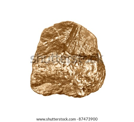 A gold nugget isolated on a white background - stock photo