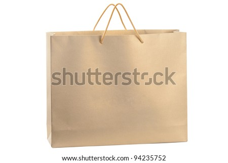A gold paper shopping bag - stock photo