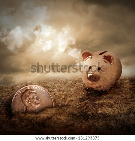 A gold piggy bank is looking at a lost penny coin hiding in the dirt with clouds in the sky. Use it as a metaphor for a wealth or money concept. - stock photo