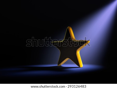 A gold star on a dark background is dramatically lit from behind and above by a pale purple spotlight. - stock photo