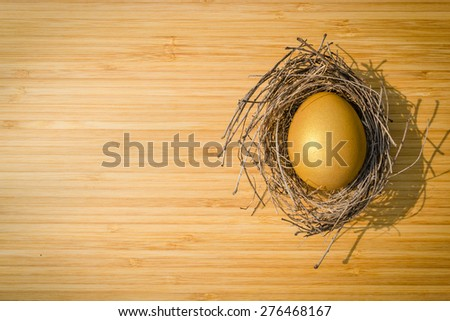 A golden egg in a bird nest on a wood plank (focus on egg) :  A golden egg opportunity concept of wealth and a chance to be rich  - stock photo