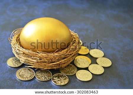 A golden egg in nest surrounded by coins - stock photo