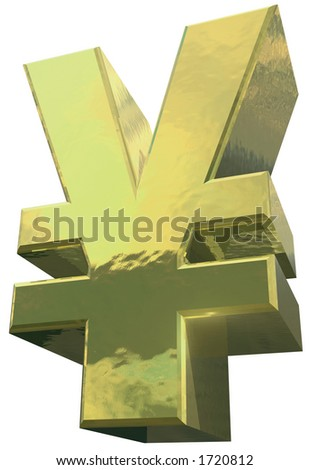 A golden English Pound symbol against a white background - stock photo