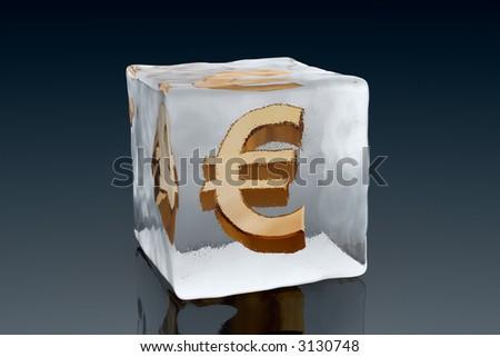 A golden Euro symbol frozen inside an ice cube (3D rendering) - stock photo