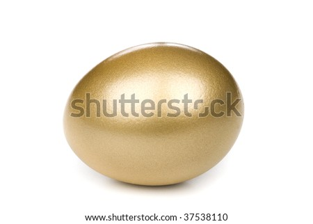 A golden investment eggs on a white background waiting to hatch - stock photo